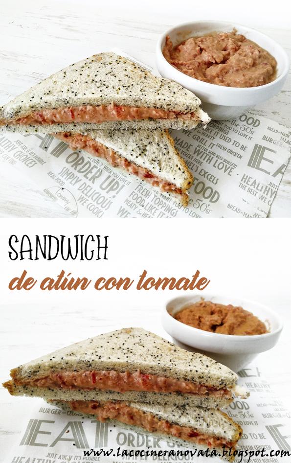 SANDWICH DE ATUN CON TOMATE la cocinera novata receta cocina bocadillo sandwich dip pate pescado cena express rapida light bajo en calorias