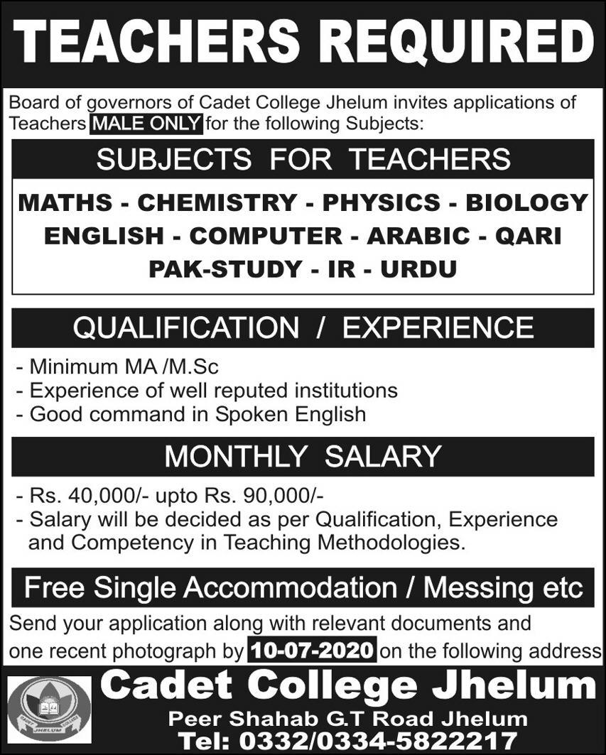 Cadet College Jhelum Jobs
