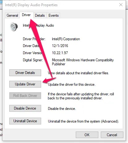 windows10- الميكروفون- تحديث السائقين