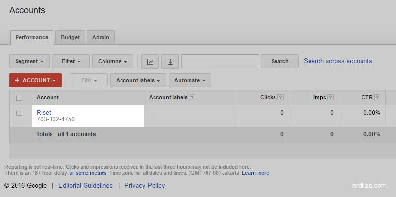 Daftar akun klien - Cara Terbaru Riset Menggunakan Google Keyword Planner