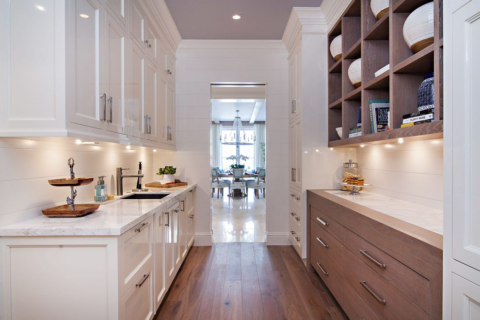 Butler Pantry Custom High Gloss Hand Buffed Painted Solid Maple Cabinetry Mixed With Stained White Oak And Stainless Elements By Swp