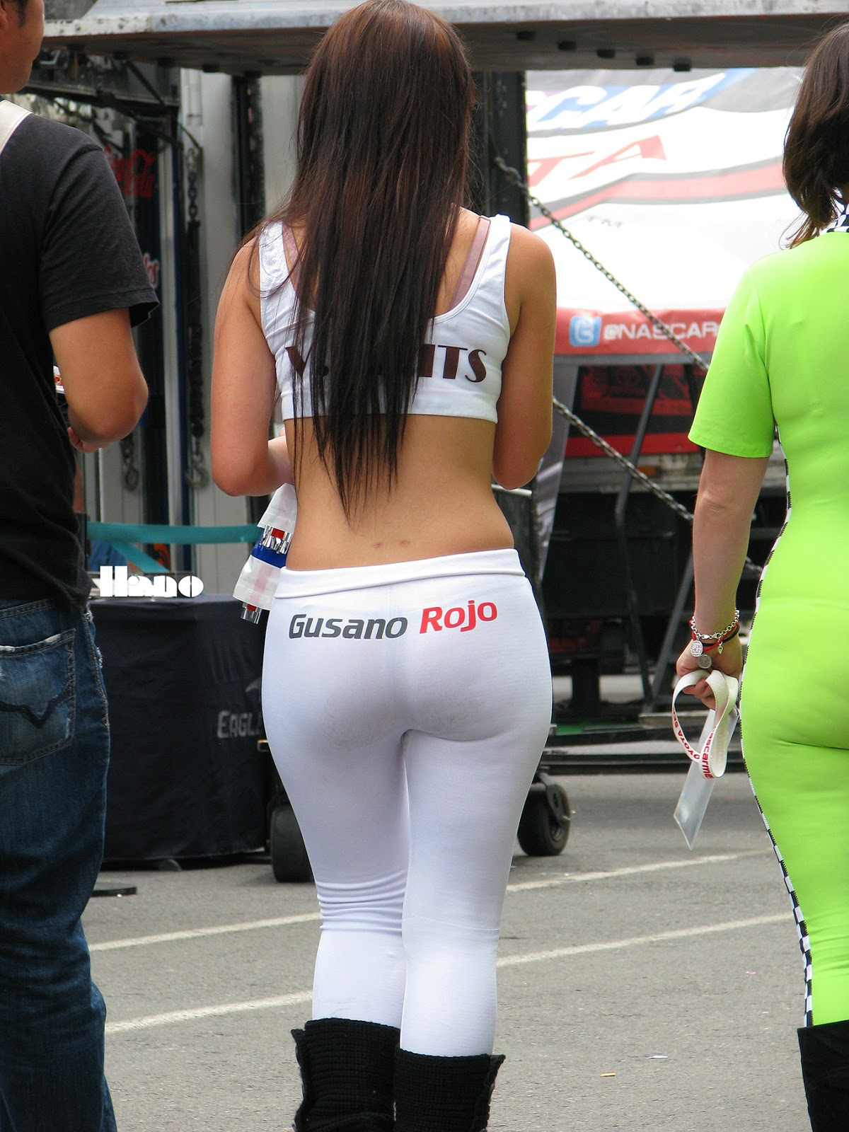 Tight spandex shorts pawg candid wide hips juicy ass mod - 1 7