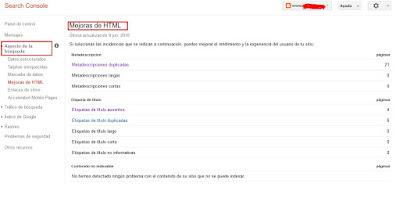 Muestra cómo encontrar las opciones de Google Search Console