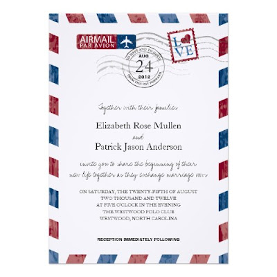 Airmail Letter Wedding Invitation
