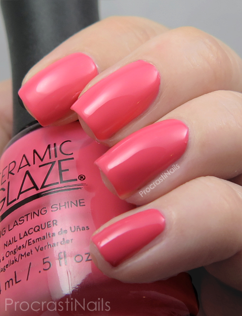 Swatch of the bright coral Ceramic Glaze Perfect Peony