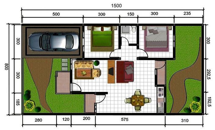 denah rumah dan ukuran keterangan terlihat kreatif