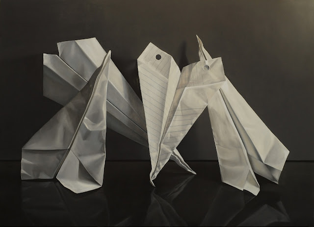 Jeanne Vadeboncoeur paper airplane oil painting realism