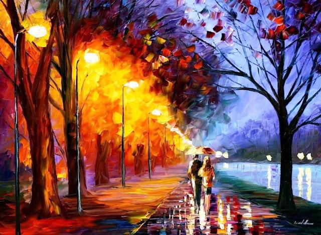 Lukisan dengan warna hangat dan warna dingin