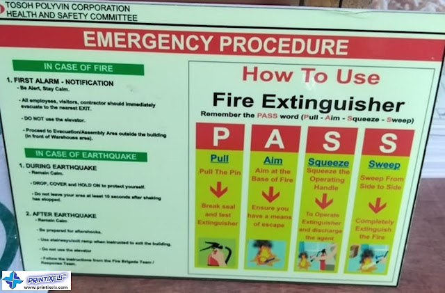 PASS Emergency Fire Extinguisher Sign