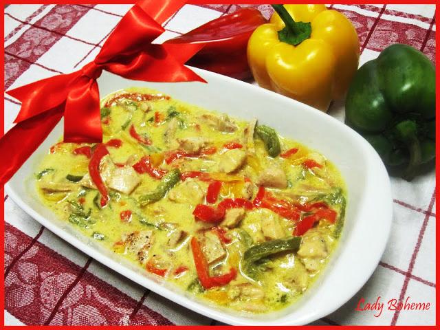 hiperica di lady boheme blog di cucina, ricette facili e veloci. Ricetta spezzatino di pollo con peperoni e senape