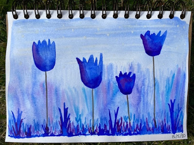 Four blue watercolour tulips with grassy base