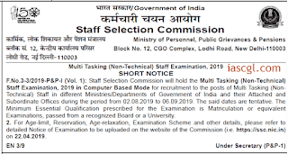 SSC MTS Notification 2019 - Check Exam and Online Application Dates