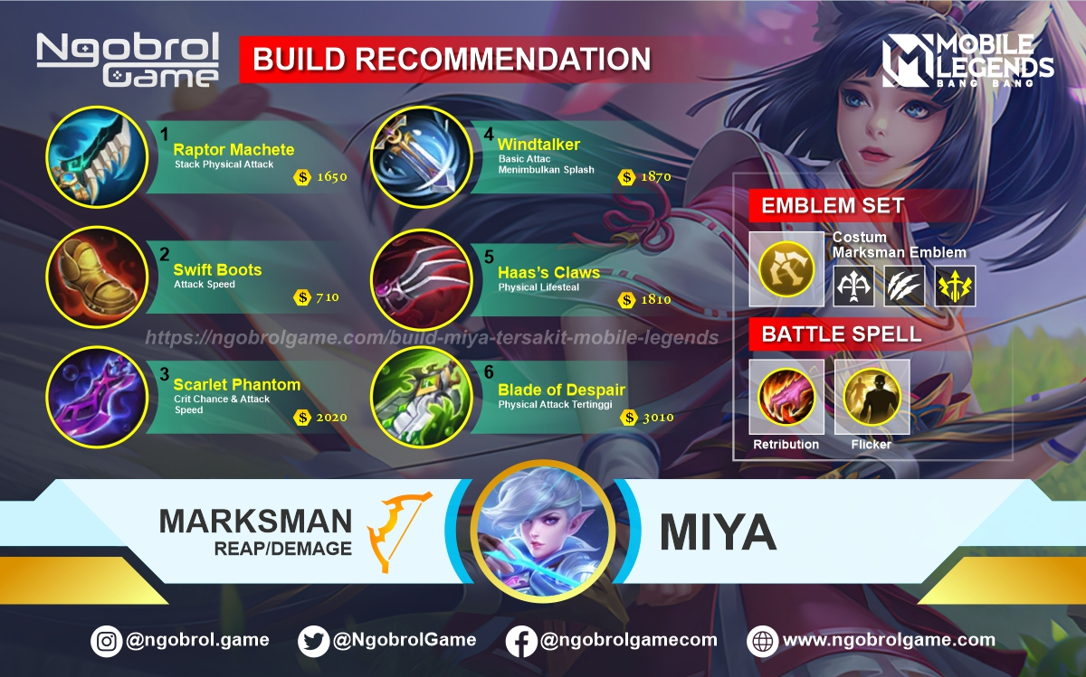 Build Miya Tersakit 2021 Mobile Legends