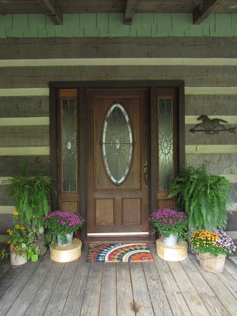 Log Cabin Porch and Front Door for Fall
