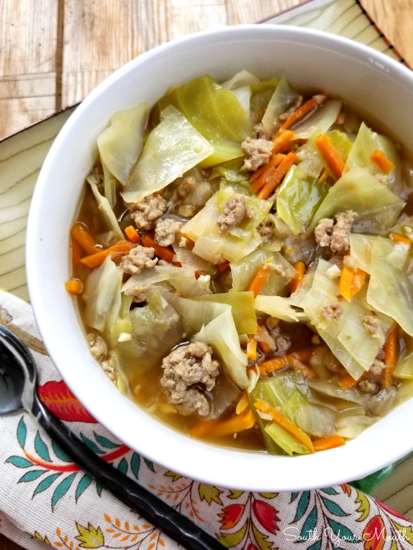 Egg Roll SOUP! A quick and easy egg roll soup recipe bursting with fresh vegetables and bold flavors in a light broth that can easily we tweaked for #lowcarb or #keto diets. #eggroll #soup