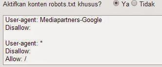 cara setting robot.txt