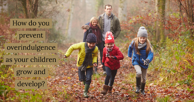 "Family running through the woods with words overlaid ""How do you prevent overindulgence as your children grow and develop?"""
