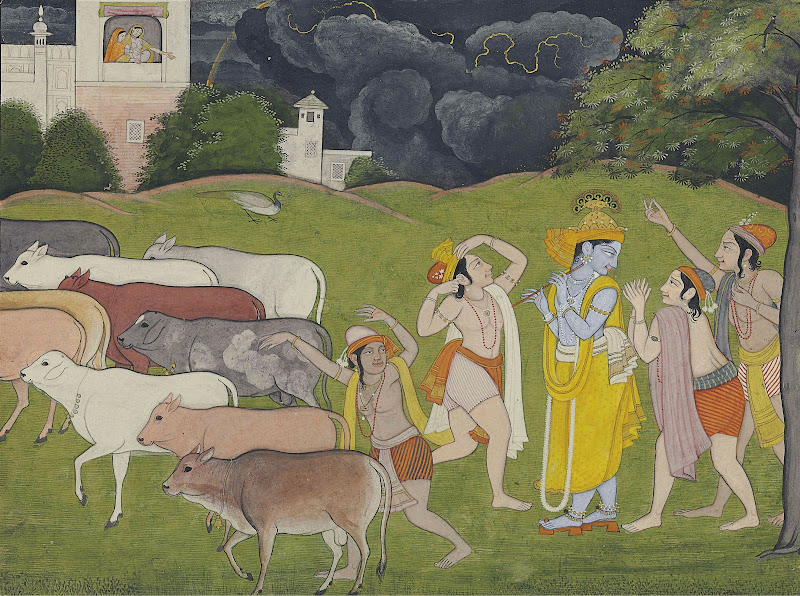 Krishna and the Call of the Flute - Kangra Painting, c1790
