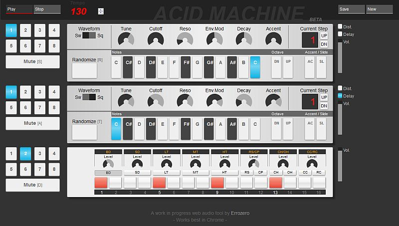 Acid Machine TB 303 Emulator und Drum Computer im Browser