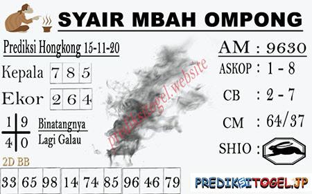 Syair Mbah Ompong HK Minggu 15 November 2020