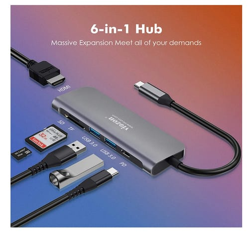 viozon USB C Hub 6-in-1 Type C Hub