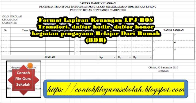 Format Lampiran Keuangan LPJ BOS Penerima Transfort Kunjungan Pengayaan Belajar Dari Rumah (BDR)