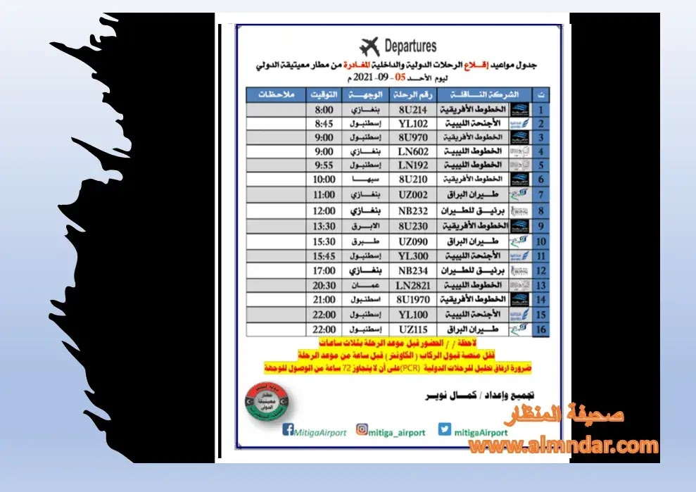 رحلات مطار معيتيقة الدولي الأحد 05-09-2021م
