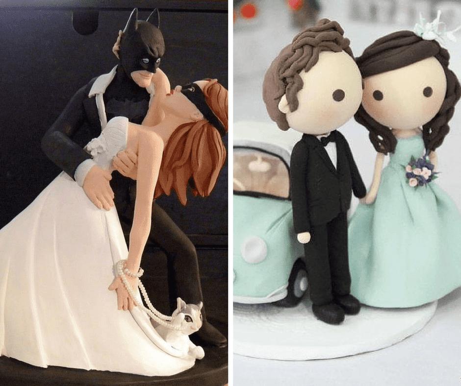 младоженци батман и батгърл и младоженци с кола за сватбени торти