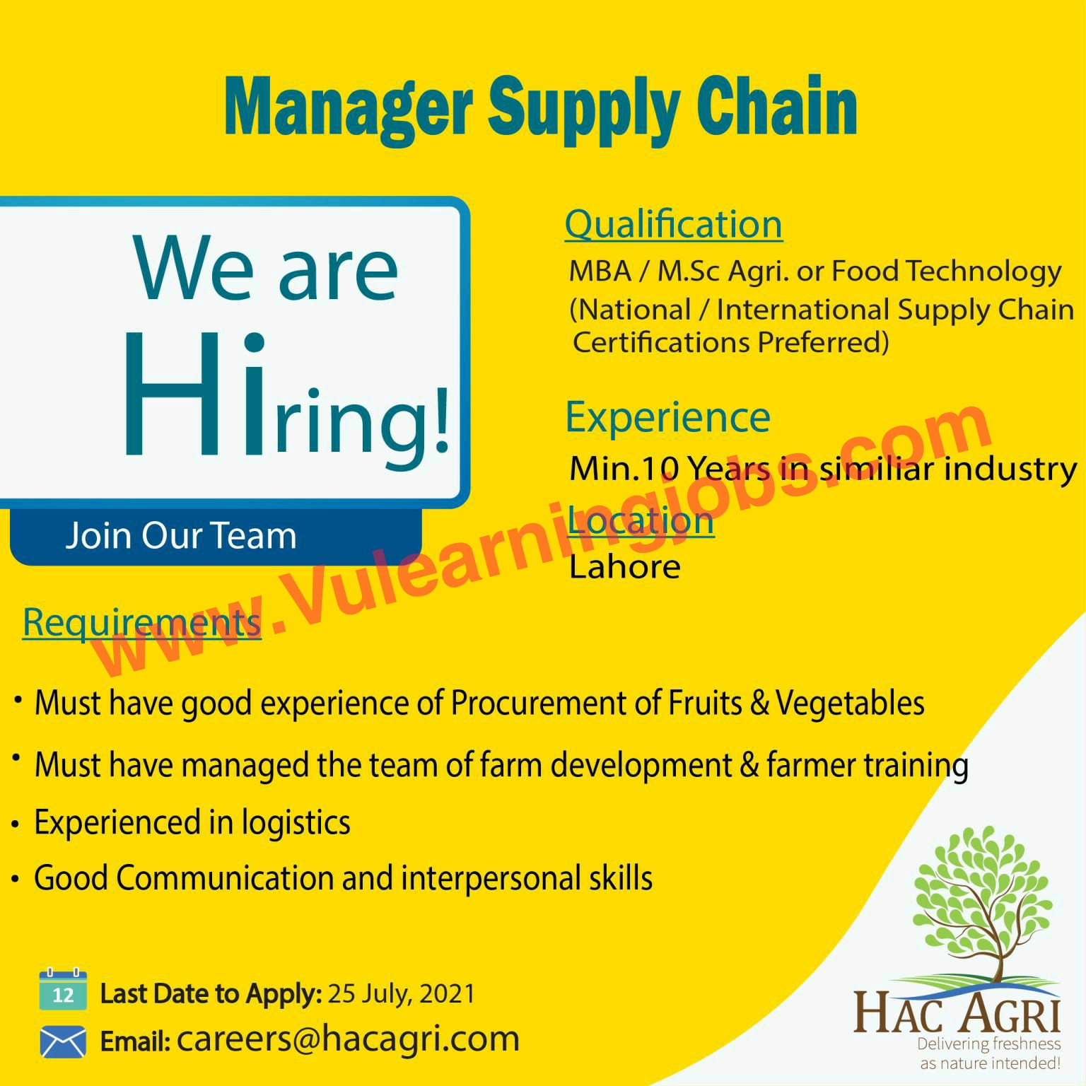HAC Agri Ltd Jobs July 2021 Manager Supply Chain Latest
