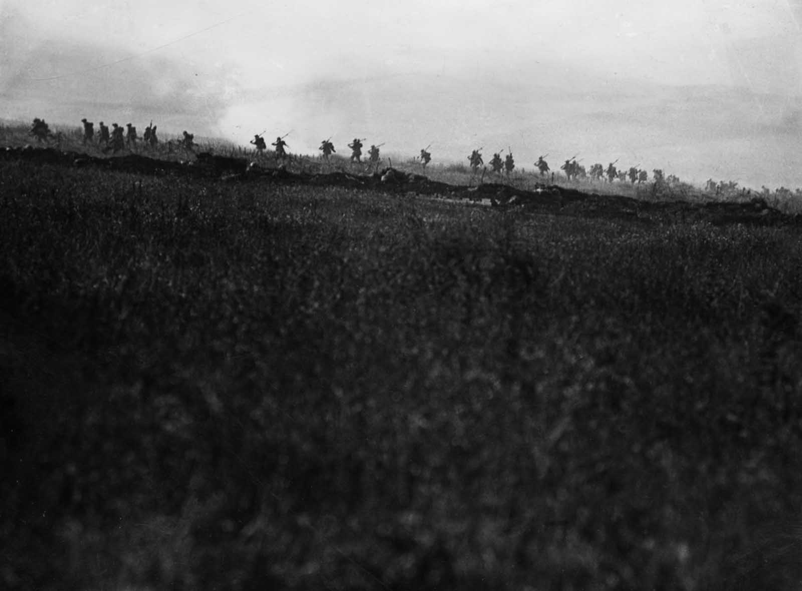 British 34th Division troops advance on the first day of the battle.