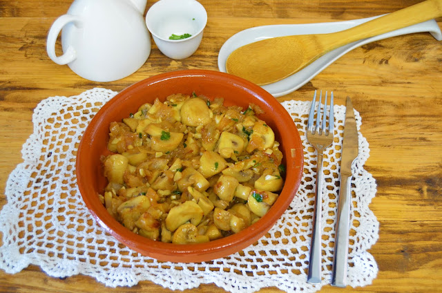 Las delicias de Mayte, recetas saludables, champiñones al ajillo con vino, champiñones al ajillo que viva la cocina, champiñones al ajillo, champiñones al ajillo arguiñano, champiñones al ajillo receta, recetas de cocina,