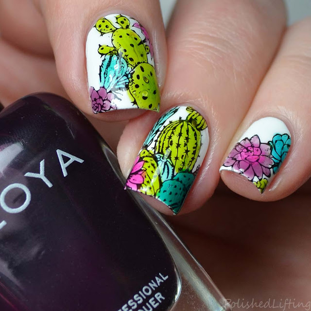 cactus and succulent nail art