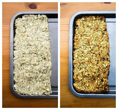 Sage and onion stuffing before and after cooking