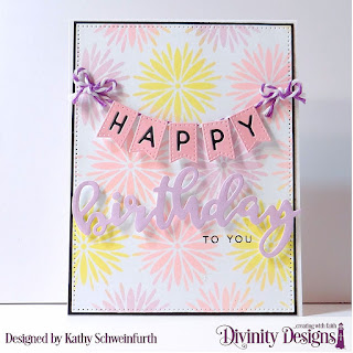 Stamp/Die Duos: Birthday, Mixed Media Stencil: Flower Burst, Custom Dies: Alphabet Flags, Pierced Rectangles