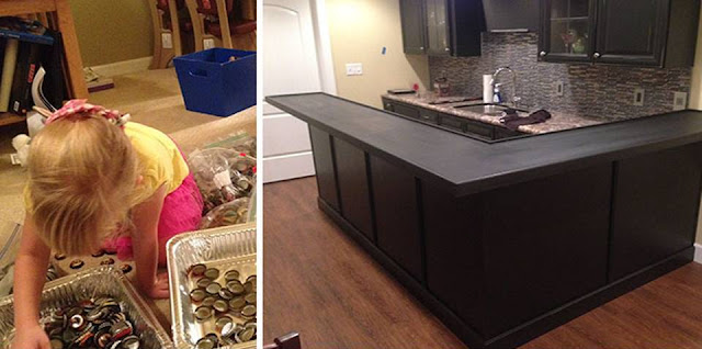 Man Collects Bottle Caps For 5 Years To Redo His Kitchen,You will be amazed at the result