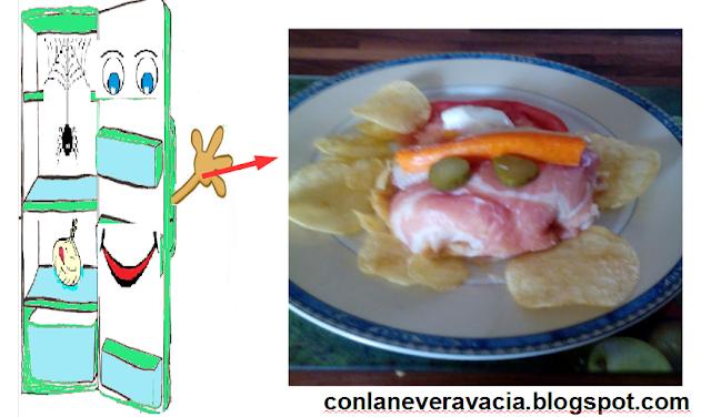 Rollo De Jamon Salado Con Puré De Patatas