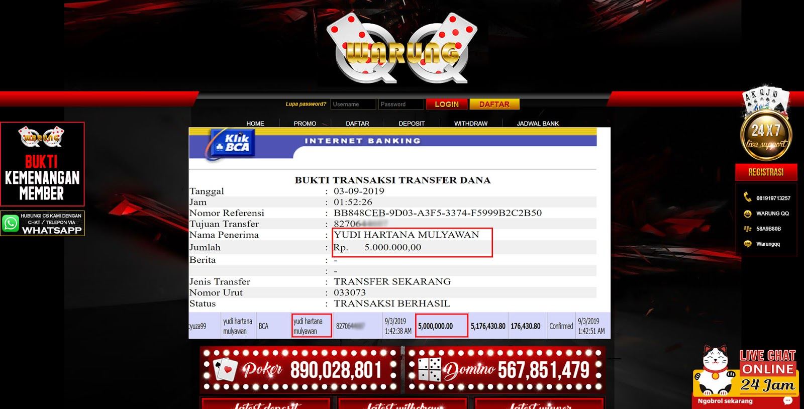 Selamat Kepada Member Setia WARUNGQQ Withdraw RP 5.000.000