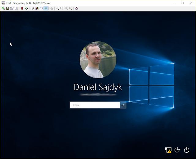 Ekran logowania w maszynie wirtualnej
