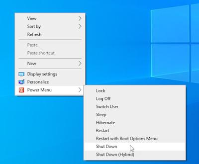 cara shutdown komputer dengan klik kanan desktop