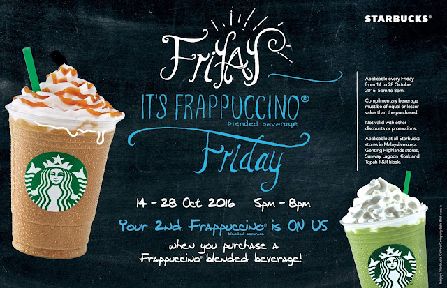 Starbucks Malaysia Frappuccino Buy One Free One Promo