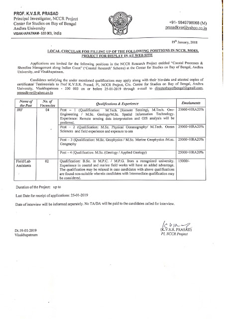 Recruitment of various post in  Andhra University(6 post)