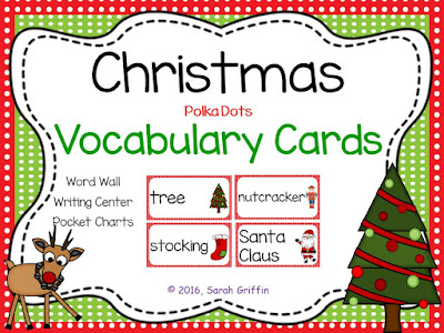 https://www.teacherspayteachers.com/Product/Christmas-Vocabulary-Word-Cards-Polka-Dots-804711