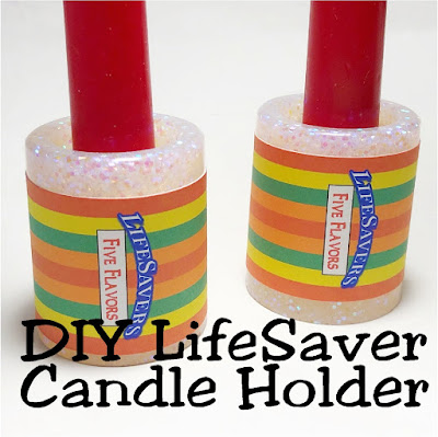 Create a unique and fun candle holder for your Valentine's day party with this easy resin craft with free printable.  These LifeSaver candle holders are the perfect addition to any sweet dinner party or table.