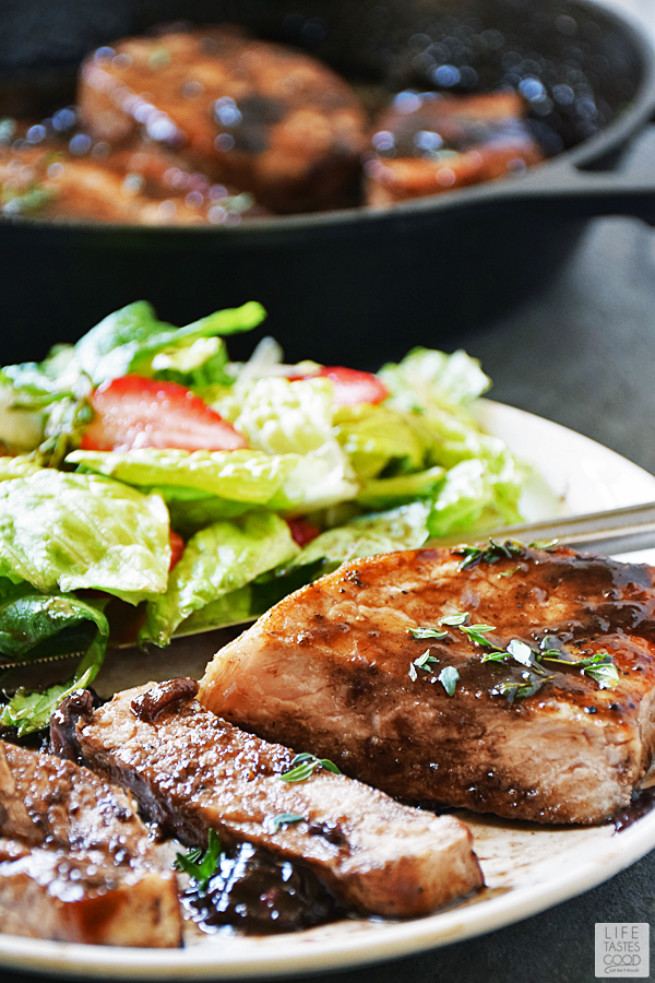 Pork Chops with Balsamic-Strawberry Sauce