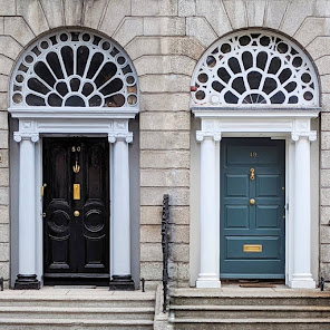 Dublin doors with tall fanlights on Leeson Street Lower
