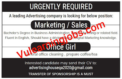 A Leading Advertising Company Jobs 2020 In Qatar For Marketing, Office Girl Latest