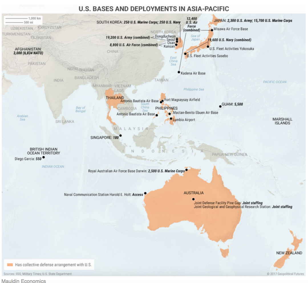 the map above shows that the us is using containment as its main strategy with china