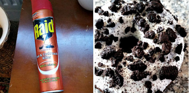 A can of ant and cockroach killer and an Oreo doughnut.