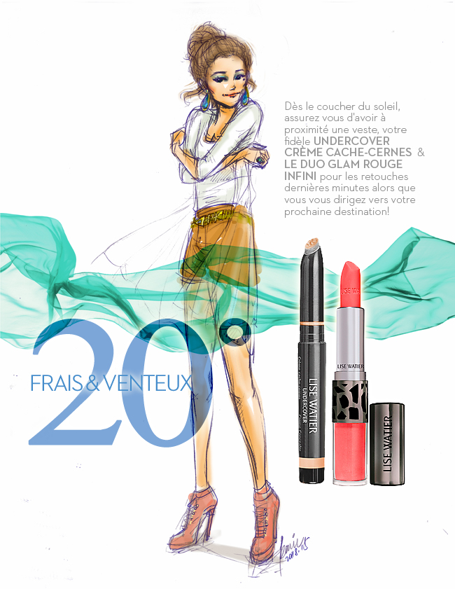 LiseWatier Glam Lipstick, Cosmetics products, fashion illustration, OL style girl in caramel shorts and gold fishbone belt, drawing by Ben Liu