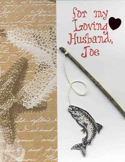 This fishing anniversary  card can be personalized with your husbands first name.